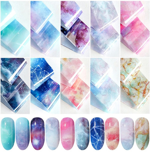 Starry Sky Galaxy Nail Foil Set