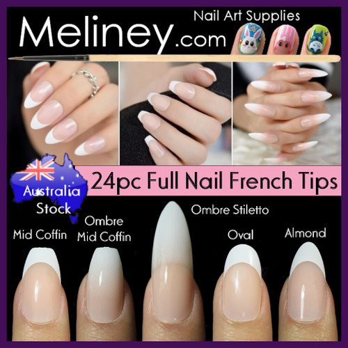 24pc ombre gradient fade french nail tips full cover.
