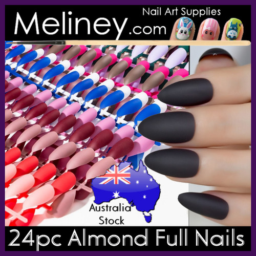 24pc matte almond full cover nails