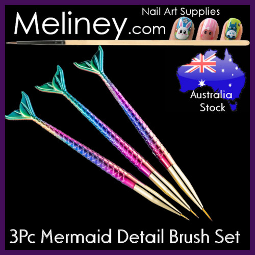 3pc mermaid fish tail detail nail art brush set