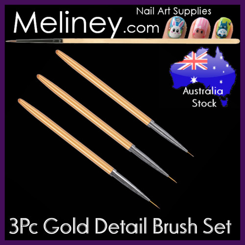 3pc Gold Detail Liner Brush Set
