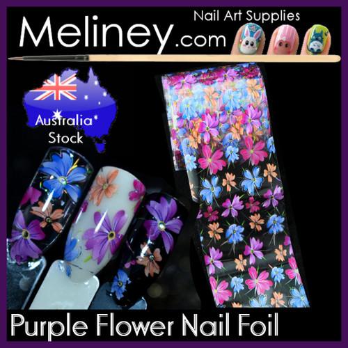 Purple Flower Nail Art Transfer Foil