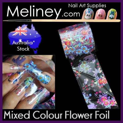 Mixed Colour Flower Nail Art transfer Foil