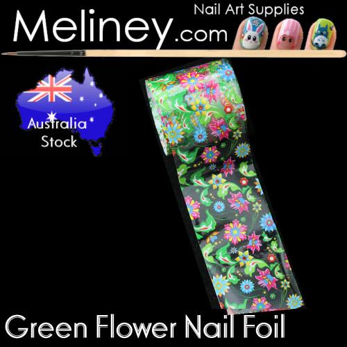 Green Flower Nail Art transfer Foil