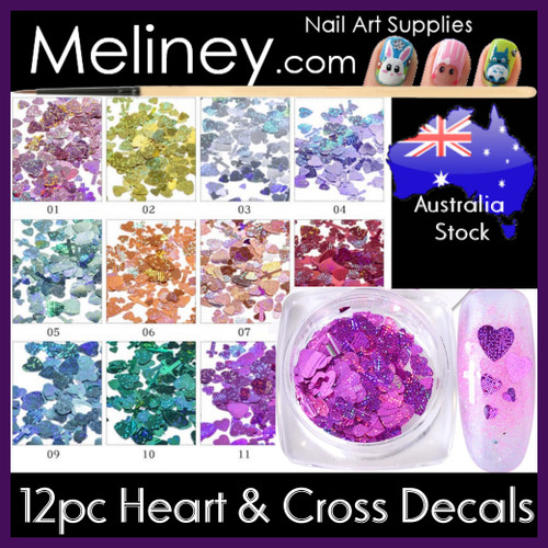 Heart and cross shaped nail decals