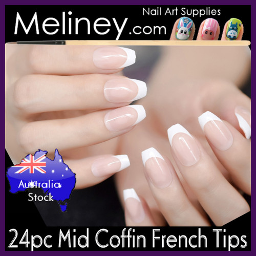 24pc Mid Coffin french nail tips full cover.
