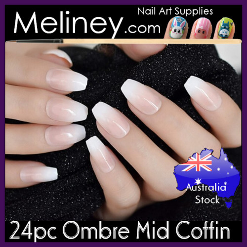 24pc Ombre Mid Coffin full cover Nails