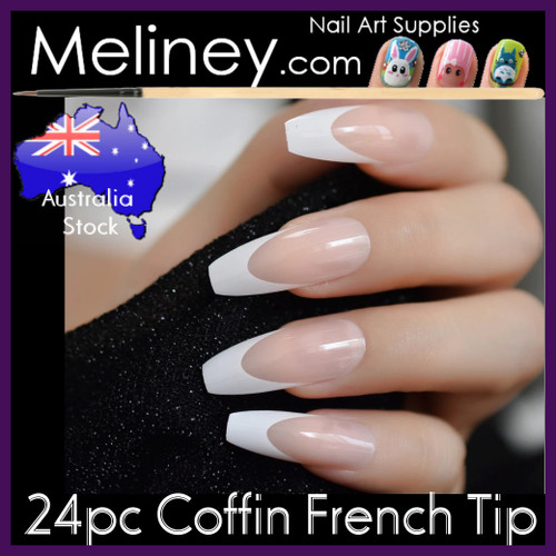 24pc Coffin full Nail French Tips