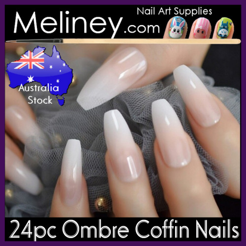 24pc Ombre Coffin Full Cover Nails