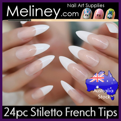 24pc Stiletto Full Nail French Tips