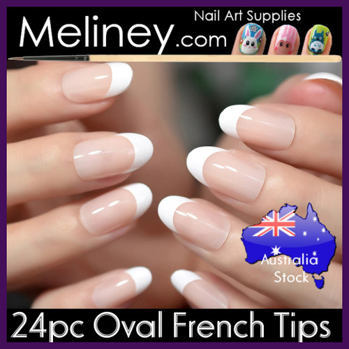 24pc Oval French Nail Tips