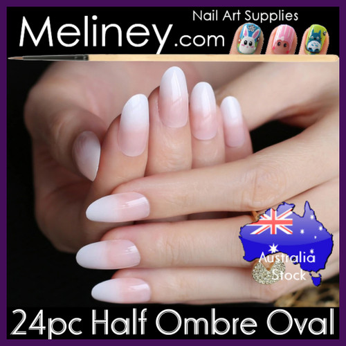 24pc Half Ombre Oval Nails