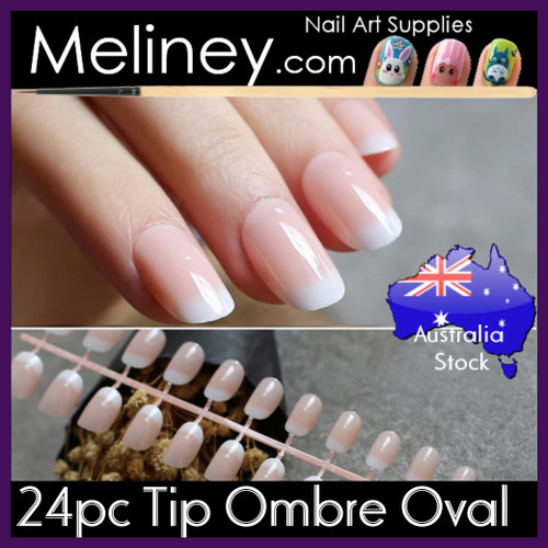 24pc Tip Ombre Oval Nails