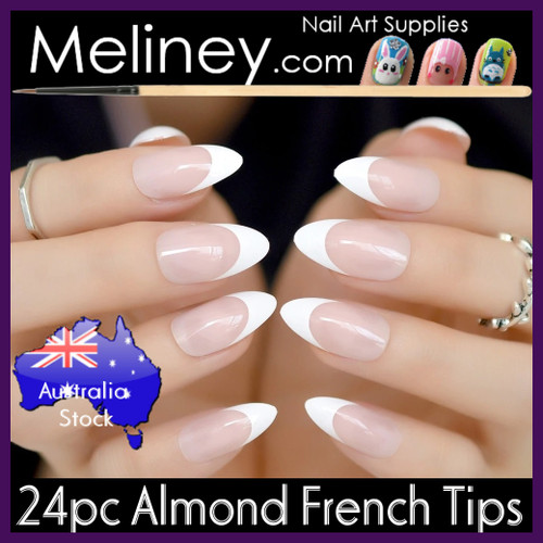 24pc Almond French Nail Tips