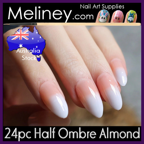 24pc Half Ombre Almond Nails