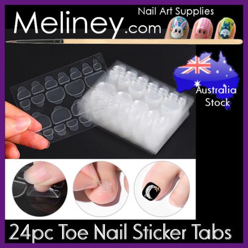 24 toe tab nail stickers