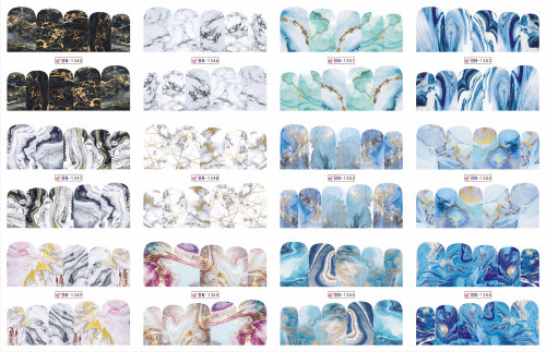 Water Decal Nail Art Stickers - Marble Wrap
