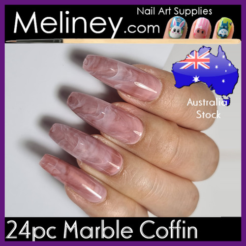 24pc Marble Coffin nails