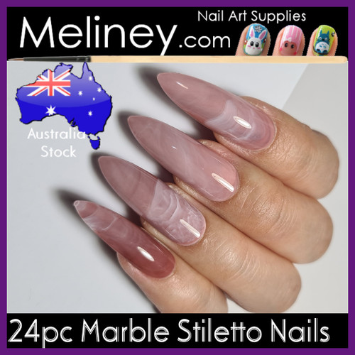 24pc Marble Stiletto Nails