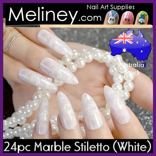 24pc Marble Stiletto Nails white