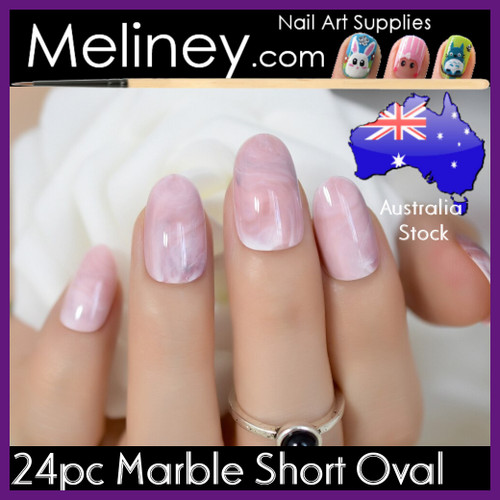 24pc marble short oval nails