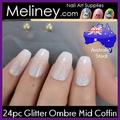 24pc Glitter Ombre Mid Oval Nails