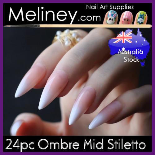 24pc Ombre Mid Stiletto Full Cover Nails