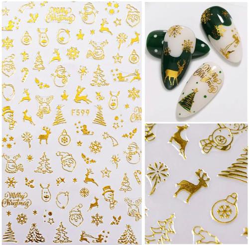 Gold Christmas STicker F599