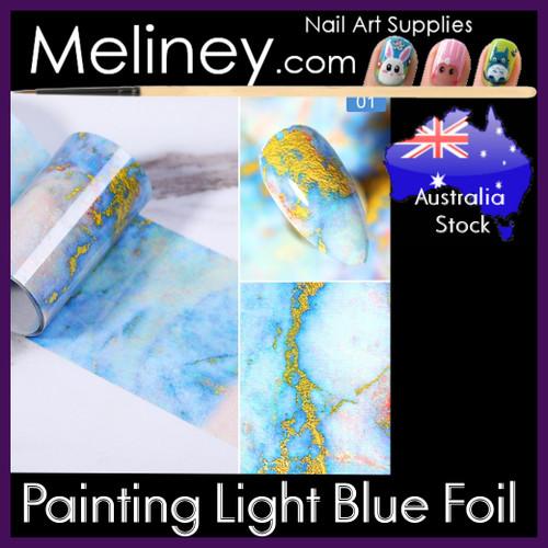 painting light blue nail foil