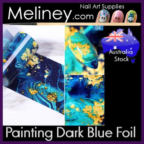 Painting Dark Blue Nail Foil