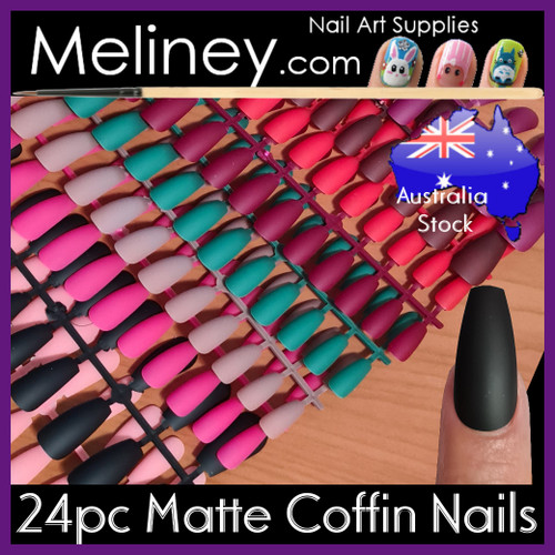 24 matte coffin full cover nails