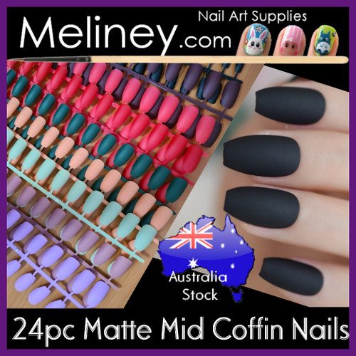 24pc Matte Mid Coffin full cover nails