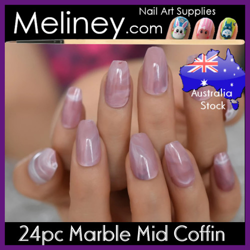 24pc mauve marble mid coffin full cover nails