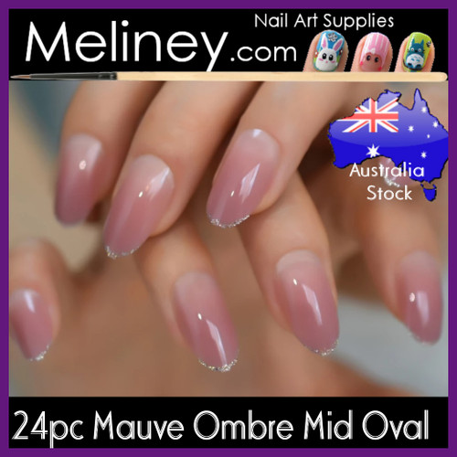 24pc mauve ombre mid oval full cover nails