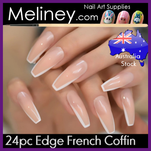 24pc Edge French Coffin Nails