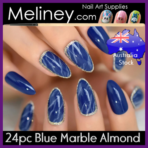 24pc Blue Marble Almond Nails