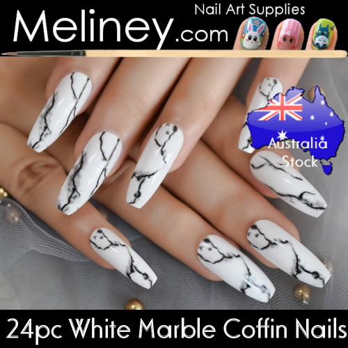 24pc white marble coffin full cover nails