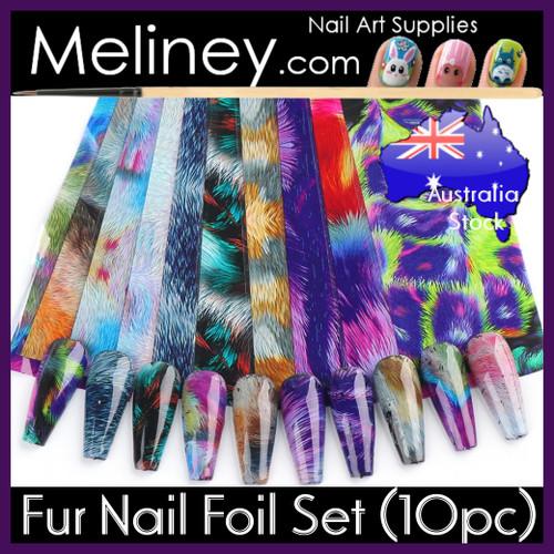 fur nail art foil set