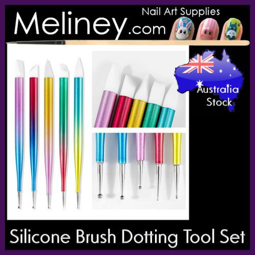 silicone gel nail brush dotting tool set
