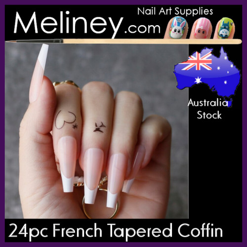 24pc French Tip Tapered Coffin full cover nails