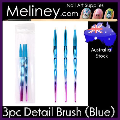3pc Detail Brush Set (Blue)