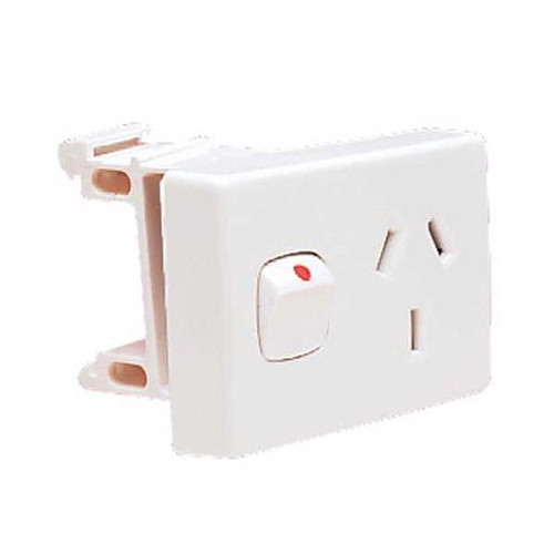 Hpm 10 Amp 3 Pin Din Mounted Single Outlet White