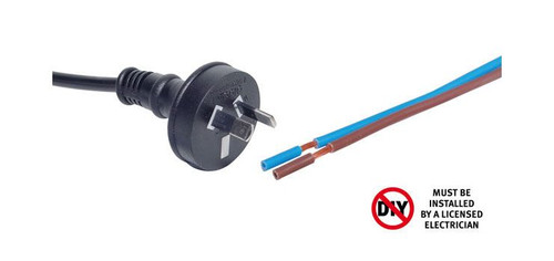 2M 7.5A 2 Pin Black Bare Ends Mains Power Cable