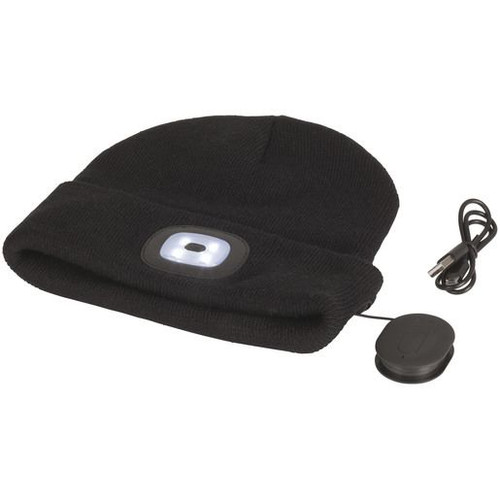 Black Beanie With Bluetooth Speakers And Led Torch