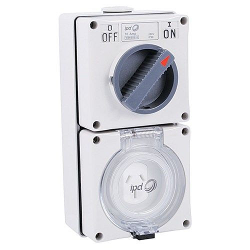 Switched Outlet 3 Flat Pins 10A Grey With 2 Pole Switch Ip66 - Shallow Base