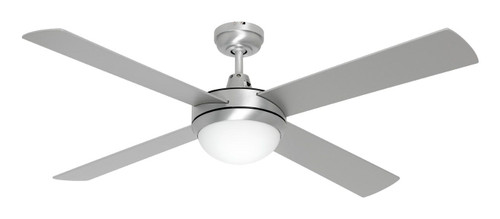 """Caprice 52"""" Ac Ceiling Fan With B22 Light Kit Brushed Steel"""