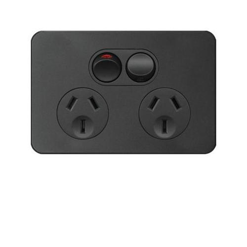 Hager Double Switch Socket 10 Amp Horizontal Matt Black