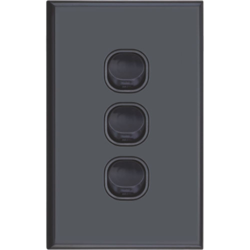 Slim Black Vertical Three Gang Wall Plate With Switch - Dexton