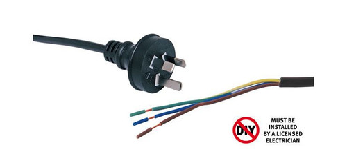 2M 7.5A 3 Pin Black Bare Ends Mains Power Cable