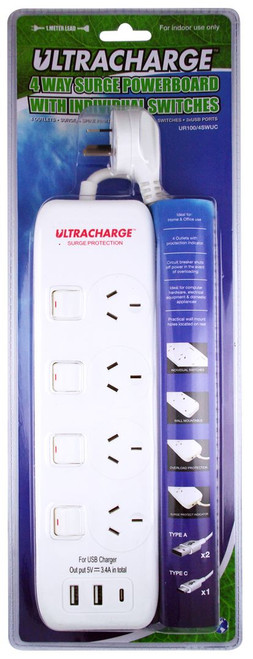 Ultracharge Power Board 4 Switch Surge With 3Xusb 3.4A Total